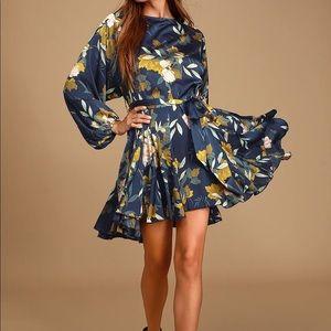 Austrina Navy Blue Floral Print Satin Long Sleeve